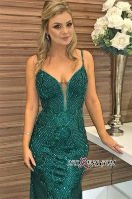 Green Spaghetti-Straps Sleeveless Mermaid Prom Dress | Elegant Beaded Appliques Evening Gown_3