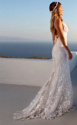 Glamorous Spaghetti Strap Sleeveless Lace Appliques Prom Dress   Mermaid Criss Cross Strings Evening Gowns BC0489_4