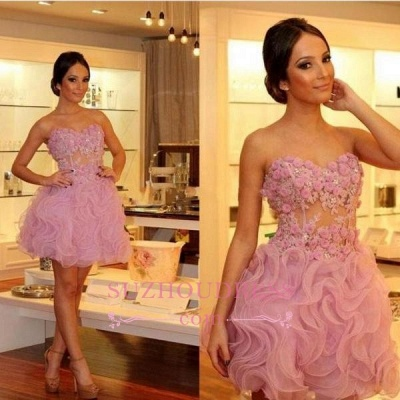 Gorgeous Sweetheart Short Prom Dresses | 2020 Homecoming Dress With Flowers_1