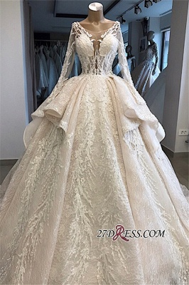 Long-Sleeves Layered Appliques Scoop Amazing Wedding Dresses_4