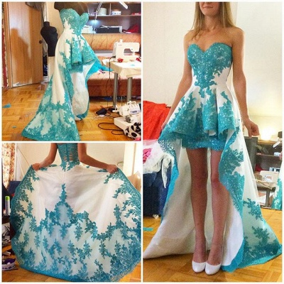 Glamorous Sweetheart Hi-Lo Cocktail Dress Lace Appliques Prom Gown NB031_2