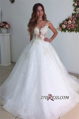 A-Line Beach Court-Train White Lace Tulle Appliques Wedding Dresses_4