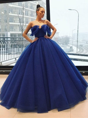 Gorgeous Sweetheart Long Evening Gowns | Ball Gown Blue Prom Dress_1