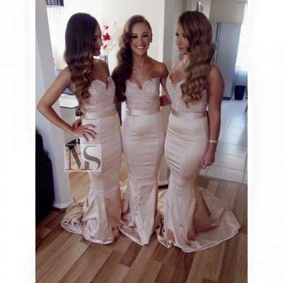 Sexy Sleeveless Sweartheart Mermaid Bridesmaid Dress Sweep Train_2