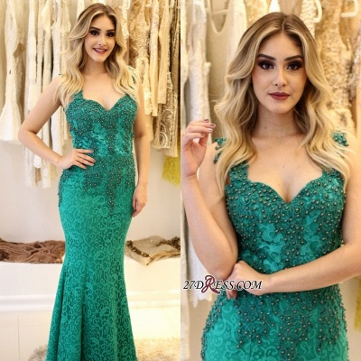 Pearls Lace-Applique Mermaid Straps Glamorous Prom Dresses_4