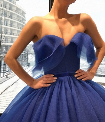 Gorgeous Sweetheart Long Evening Gowns | Ball Gown Blue Prom Dress_2
