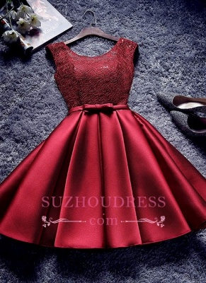 Bowknot-Sash Red Lace-Up-Back A-line Homecoming Dresses BA7429_1