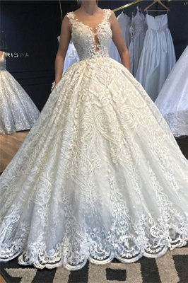 V-Neck Strap Sleeveless Beading Wedding Dress Lace Appliques Ball Gowns_1