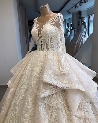 Long-Sleeves Layered Appliques Scoop Amazing Wedding Dresses_2
