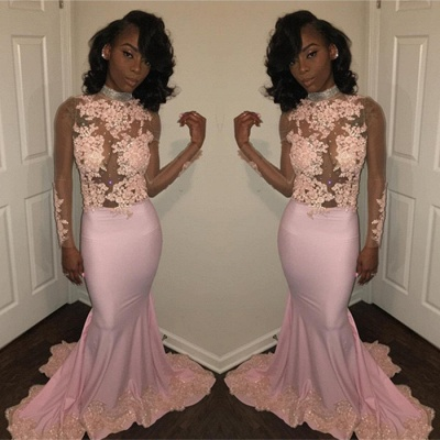 Pink High-Neck 2020 Prom Dress | Mermaid Evening Party Gowns With Lace Appliques BK0_3