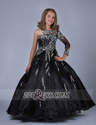 Glamorous Jewel Floor-length Girl Pageant Dress Ball Gown With Crystals_5