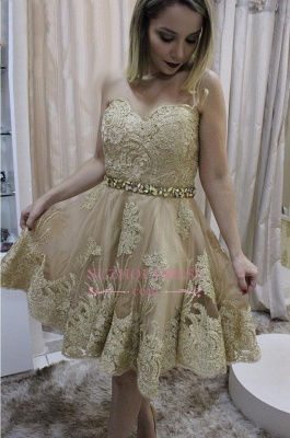 Lace homecoming dress, short prom dress on sale_1