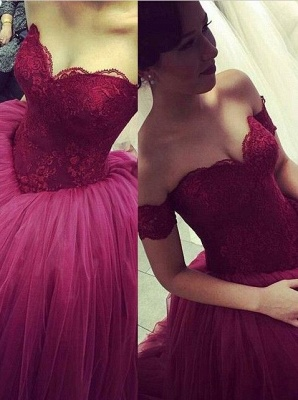 Modern Off-the-shoulder Tulle Lace Evening Dress 2020 Princess Sweep Train_1