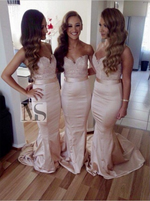 Sexy Sleeveless Sweartheart Mermaid Bridesmaid Dress Sweep Train_1