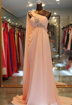 Elegant One Shoulder Long Chiffon Evening Dress With Crystals_1