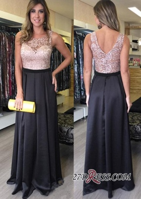 Gorgeous Floor-Length A-Line Sleeveless Lace Zipper Prom Dresses_1
