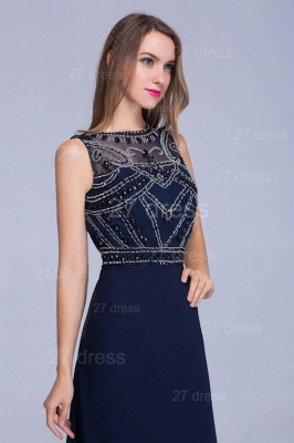 Newest Illusion Mermaid Beadings Evening Dress Sweep Train_3