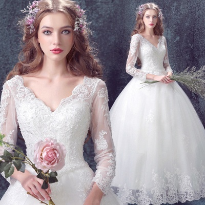Romantic Lace Tulle Ball Gown Wedding Dress 2020 3/4-Long Sleeve_4