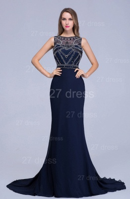 Newest Illusion Mermaid Beadings Evening Dress Sweep Train_1
