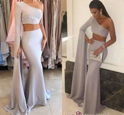 Floor-Length Mermaid Stunning Two-Pieces One-Shoulder Prom Dress_2