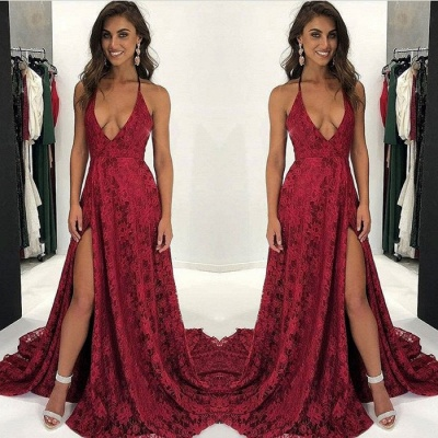 Dark Red Lace Prom Dress | 2020 V-Neck Evening Gowns With Slit BA9243_3