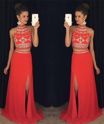 Gorgeous Two Pieces High Neck Prom Dress 2020 Long Chiffon With Beadings AP0_3
