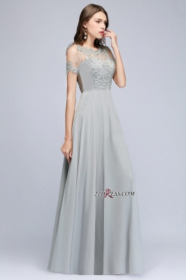 Beaded Cheap Scoop Appliques A-Line Silver Cold-Shoulder Bridesmaid Dresses_5
