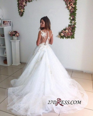 A-Line Beach Court-Train White Lace Tulle Appliques Wedding Dresses_3