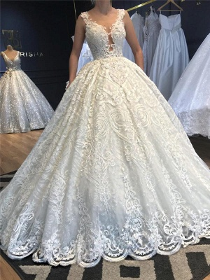 V-Neck Strap Sleeveless Beading Wedding Dress Lace Appliques Ball Gowns_2