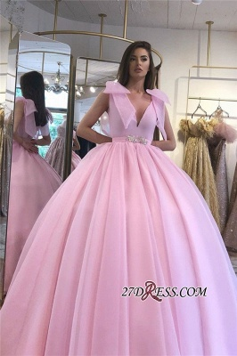 V-neck Beaded Ball-gown Puffy Hot-pink Prom Dress_3