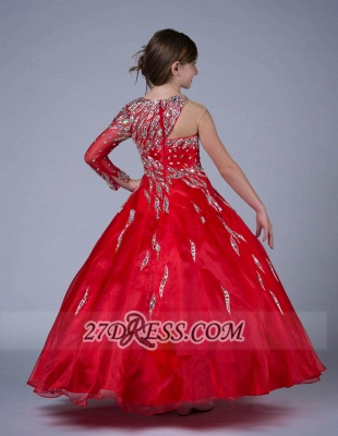 Glamorous Jewel Floor-length Girl Pageant Dress Ball Gown With Crystals_4