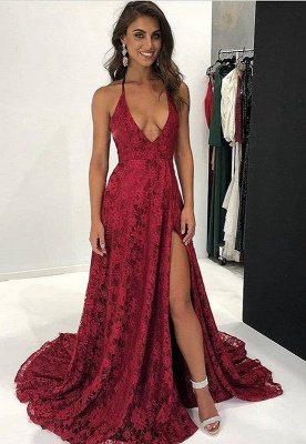 Dark Red Lace Prom Dress | 2020 V-Neck Evening Gowns With Slit BA9243_1