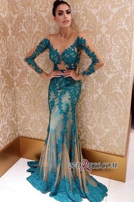 A-line Beading Green Long-sleeve Applique See-through Charming Prom Dress_1