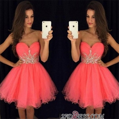 Sweetheart Mini Beadings Tulle A-line Homecoming Dress_3