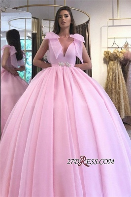 V-neck Beaded Ball-gown Puffy Hot-pink Prom Dress_2