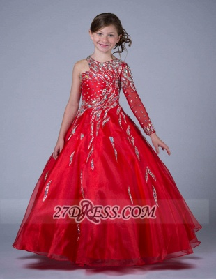 Glamorous Jewel Floor-length Girl Pageant Dress Ball Gown With Crystals_3