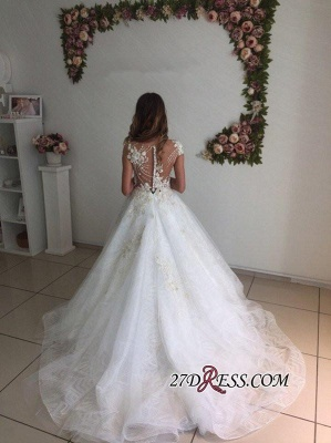 A-Line Beach Court-Train White Lace Tulle Appliques Wedding Dresses_2