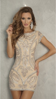 Sexy Sleeve Crystal 2020 Short Homecoming Dress Prom Gowns_1