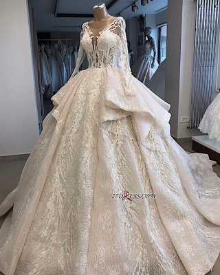 Long-Sleeves Layered Appliques Scoop Amazing Wedding Dresses_3