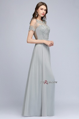 Beaded Cheap Scoop Appliques A-Line Silver Cold-Shoulder Bridesmaid Dresses_4