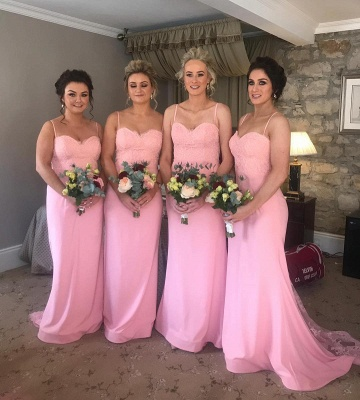 Fashion Spaghetti-Straps Sweetheart Bridesmaid Dresses | Floor-Length Pink Mermaid Maid Of Hornor Dress_2