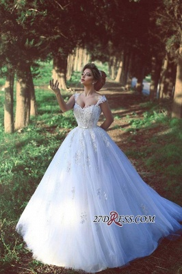 Straps Beading Lace-Appliques Ball-Gown Amazing White Wedding Dresses_5