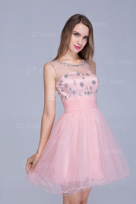 Lovely Illusion Pink Short Homecoming Dress Sleeveless With Crystals_2