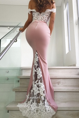 Stunning Off-the-Shoulder Mermaid Lace Evening Dresses   2020 Mermaid Prom Gowns Long BC0359_2