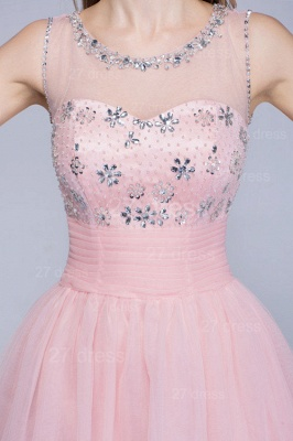 Lovely Illusion Pink Short Homecoming Dress Sleeveless With Crystals_4