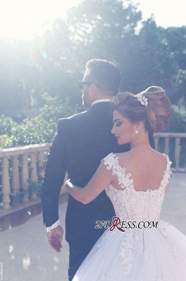 Straps Beading Lace-Appliques Ball-Gown Amazing White Wedding Dresses_4