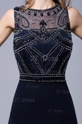 Newest Illusion Mermaid Beadings Evening Dress Sweep Train_4