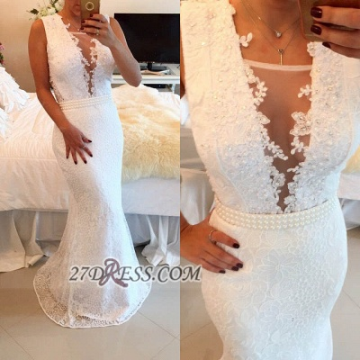 Sexy V-neck Sleeveless Mermaid Prom Dress With Pearls And Lace Appliques BT0_2