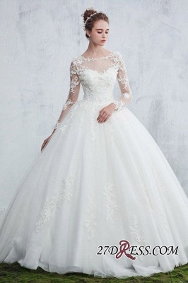 Lace Gown Long-Sleeve Ball White Sexy Jewel Wedding Dresses_3