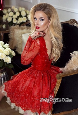 Red Short Long-Sleeve Cheap Lace Homecoming Dresses BA8057_3